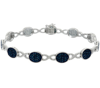 "Blue Diamond 7-1/4"" Station Bracelet, Sterling, 1.35 cttw, Affinity - J330554"