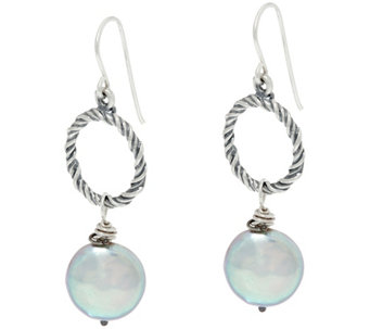 Sterling Silver Cultured Coin Pearl Drop Earrings by Or Paz - J331454