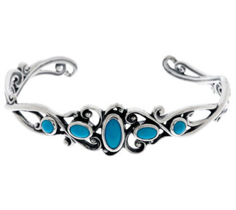 """As Is"" Carolyn Pollack Sleeping Beauty Turquoise Sterling Cuff - J331854"