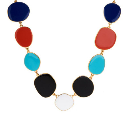"""As Is"" Kenneth Jay Lane's 28"" Freeform Multi-Color Enamel Necklace"