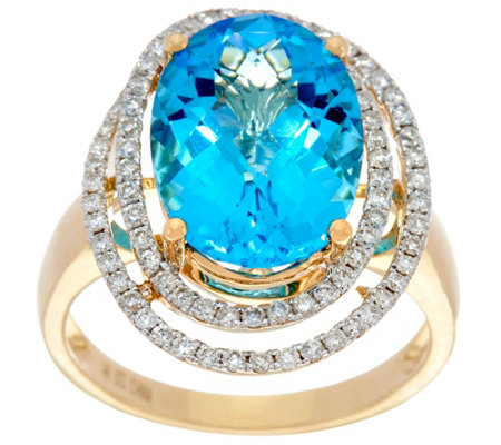 """As Is"" Swiss Blue Topaz & Pave' Diamond Ring, 14K Gold 6.10 ct"