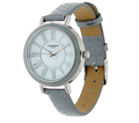 """As Is"" Liz Claiborne New York Perforated Strap Watch"