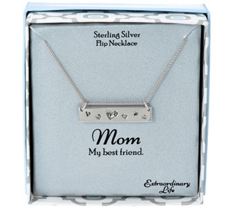 Extraordinary Life Sterling Flip Bar Message Necklace - J333654