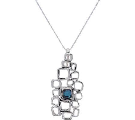 "Hagit Sterling Silver Blue Topaz Nano Bible 18"" Necklace"