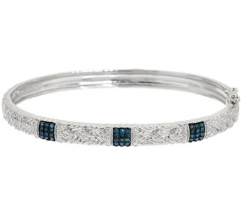 """As Is"" Pave Braided Hinged Diamond Bangle Sterling, 1/4 cttw, Affinity - J334254"