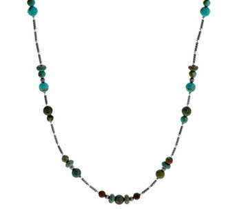 """As Is"" American West Ster. Turquoise Bead & Rondel 36"" Necklace - J334454"