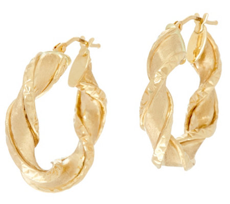 "Arte d' Oro 1"" Satin Finish Twist Hoop Earrings, 18K"