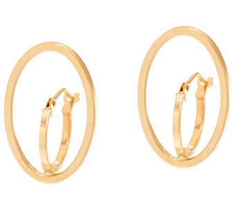 Vicenza Gold Polished Oval Double Hoop Earrings 14K Gold - J335054