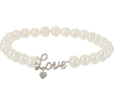 Honora Cultured Pearl Sterling Inspirational Bracelet - J347554