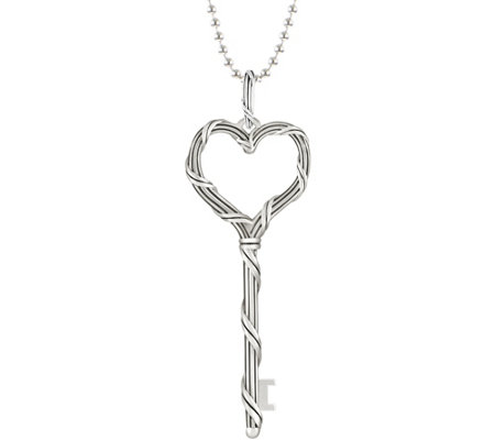 "Peter Thomas Roth Ribbon & Reed Sterling Key Pendant 26"" Necklace"
