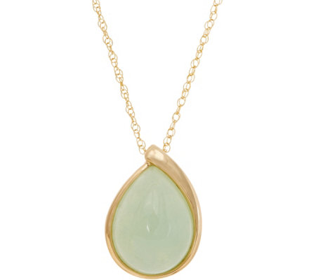 "Pear Shaped Burmese Jade Pendant on 18"" Chain 14K Gold"