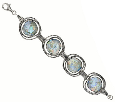 """As Is"" Or Paz Sterling 6-3/4"" Roman Glass Station Bracelet"