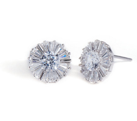Diamonique Round and Baguette Stud Earrings, Sterling