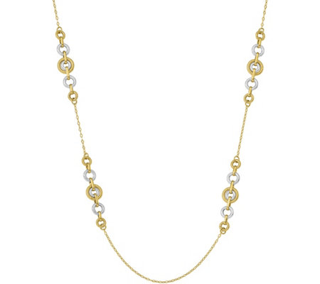 14K Two-tone Circle Link Necklace, 7.7g