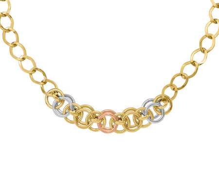 Italian Gold Tri-color Curb & Cable Link Necklace 14K , 9.8g