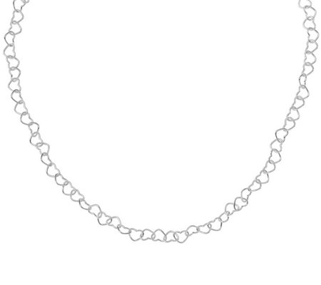 Italian Silver Heart Link Necklace Sterling, 6.0g