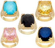 Judith Ripka 14K Clad Gemstone & Diamonique Monaco Ring