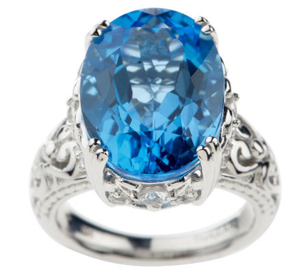 13.50 ct tw Ostroblue Topaz and White Topaz Sterling Ring