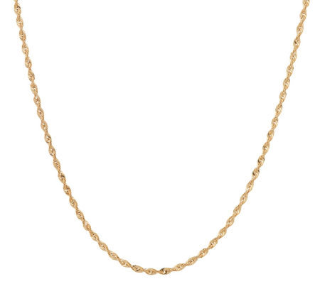 "VicenzaGold 16"" Faceted Rope Necklace 14K Gold, 2.1g"