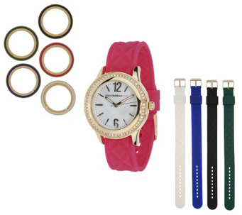 """As Is"" Isaac Mizrahi Live! Interchangeable Quilted Silicon Watch - J268955"