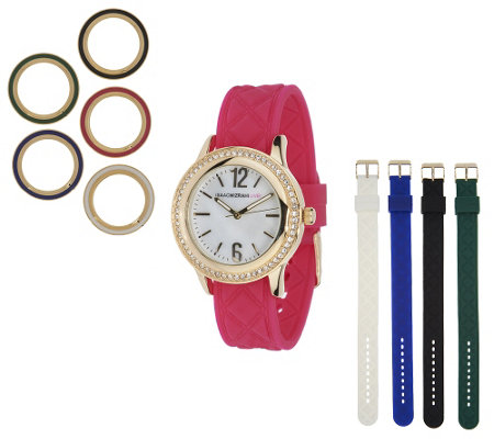 """As Is"" Isaac Mizrahi Live! Interchangeable Quilted Silicon Watch"