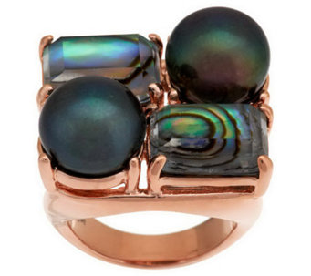 Honora Cultured Pearl & Shell Doublet Bronze Ring - J279155