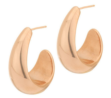 Oro Nuovo Polished Graduated Drop Hoop Earrings 14K