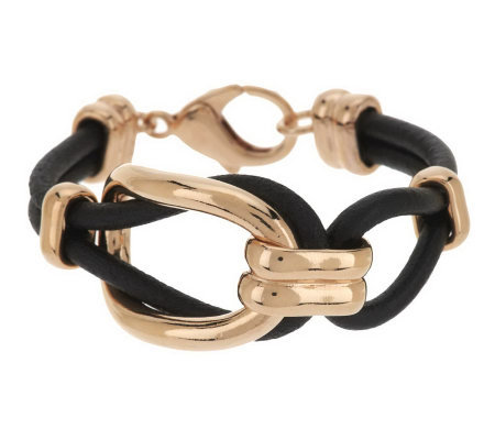 Bronze Oval Status Link Black Leather Bracelet by Bronzo Italia