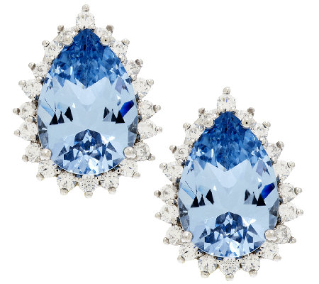 TOVA Diamonique Simulated Aquamarine Earrings, Sterling