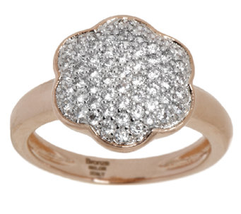 Bronze Pave' Crystal Flower Design Ring by Bronzo Italia - J293355
