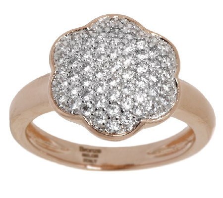 Bronze Pave' Crystal Flower Design Ring by Bronzo Italia