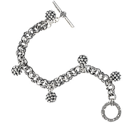 Michael Dawkins Sterling Silver Granulation Drop Bead Chain Bracelet