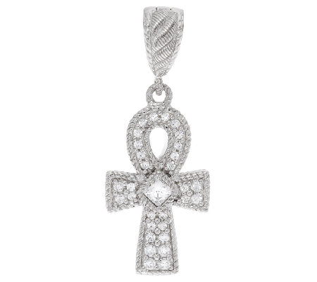 Judith Ripka Sterling 1/2 ct tw Diamonique Ankh Charm