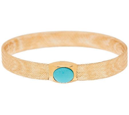 Vicenza Gold Oval Turquoise Cabochon Mesh Stretch Bangle 14K Gold