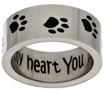 "Stainless Steel ""You Left Your Paw Prints on My Heart"" Ring - J296055"