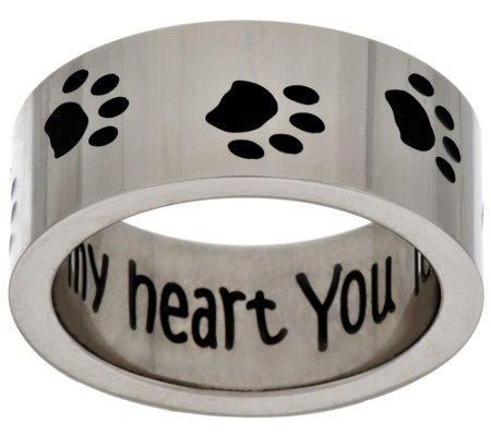 "Stainless Steel ""You Left Your Paw Prints on My Heart"" Ring"