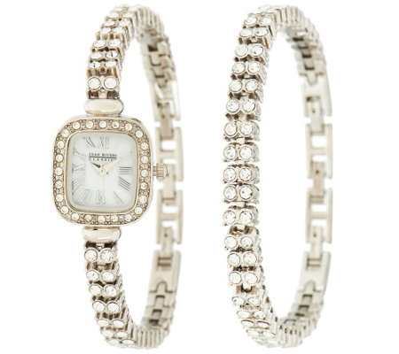 Joan Rivers Red Carpet Classic Luxury Crystal Watch & Bracelet Set