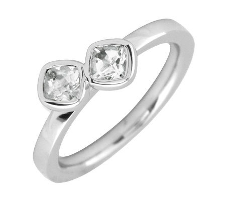 Simply Stacks Sterling White Topaz Double-Square Gemstone Ring
