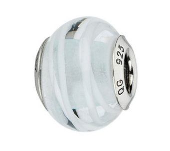 Prerogatives Clear with White Lines Italian Murano Glass Bead - J300255