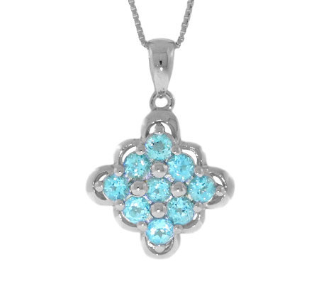 "Sterling Blue Topaz Scalloped-Edge Pendant with18"" Chain"