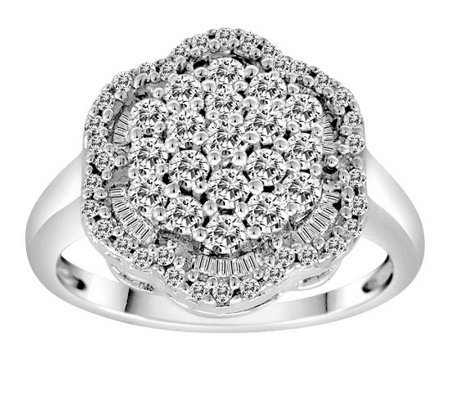 Round & Baquette Diamond Ring, 14K, 1.00 cttw,by Affinity