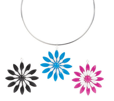 Set of 3 Interchangeable Flower Pendants on Wire Necklace