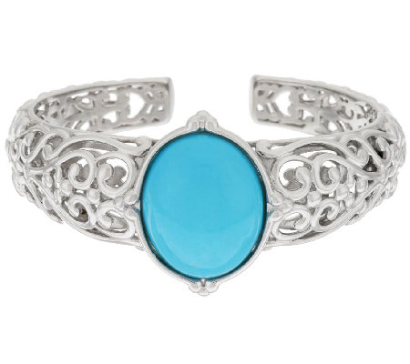 Sleeping Beauty Turquoise Sterling Silver Filigree Design Hinged Cuff