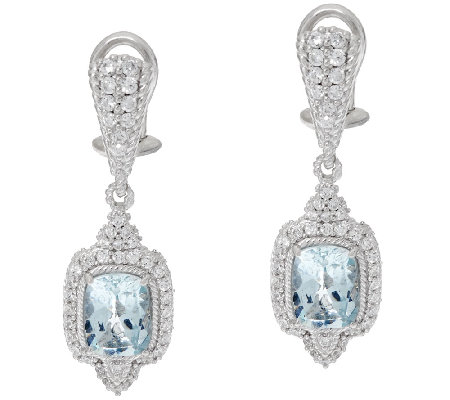 Judith Ripka Sterling 2.25 cttw Aquamarine Drop Earrings