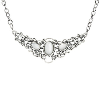 Carolyn Pollack Sterling Silver Reversible Mother-of-Pearl Necklace - J320655