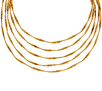 Bronze 5-Strand Textured Twisted Necklace by Bronzo Italia - J321755