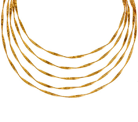Bronze 5-Strand Textured Twisted Necklace by Bronzo Italia