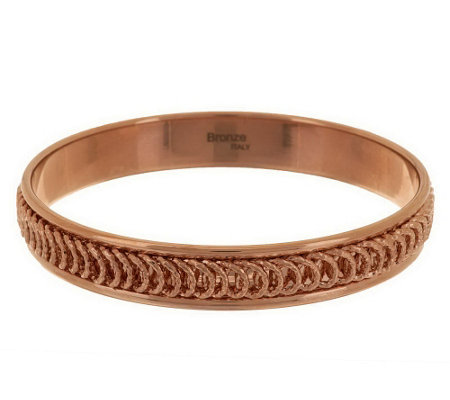 """As Is"" Bronzo Italia Large Diamond Cut Spiral Design Round Bangle"