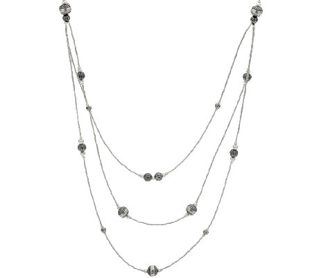 "Sterling 28"" Liquid Silver & Stamped Bead Necklace by American West"