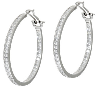 "Diamonique 4.30 cttw 1-1/2"" Round Hoop Earrings, Sterling - J325055"
